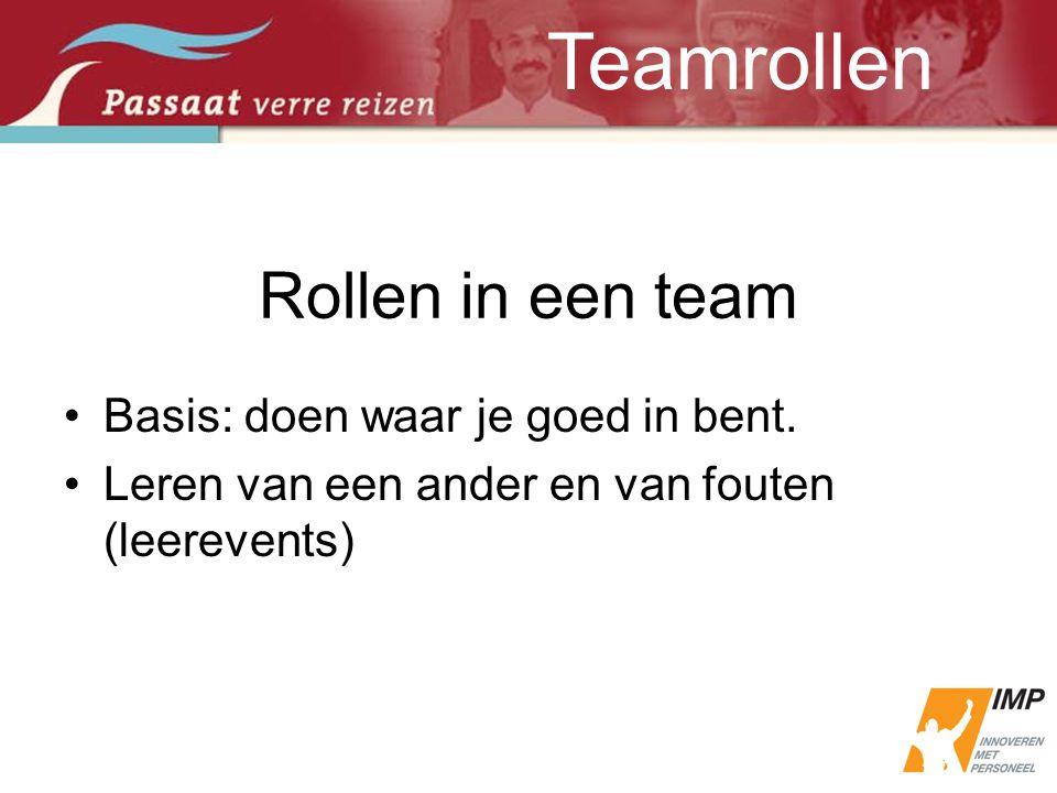 Rollen in een team •Basis: doen waar je goed in bent. •Leren van een ander en van fouten (leerevents) Teamrollen