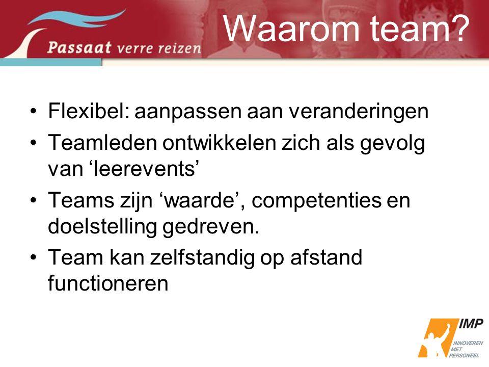 •Flexibel: aanpassen aan veranderingen •Teamleden ontwikkelen zich als gevolg van 'leerevents' •Teams zijn 'waarde', competenties en doelstelling gedr