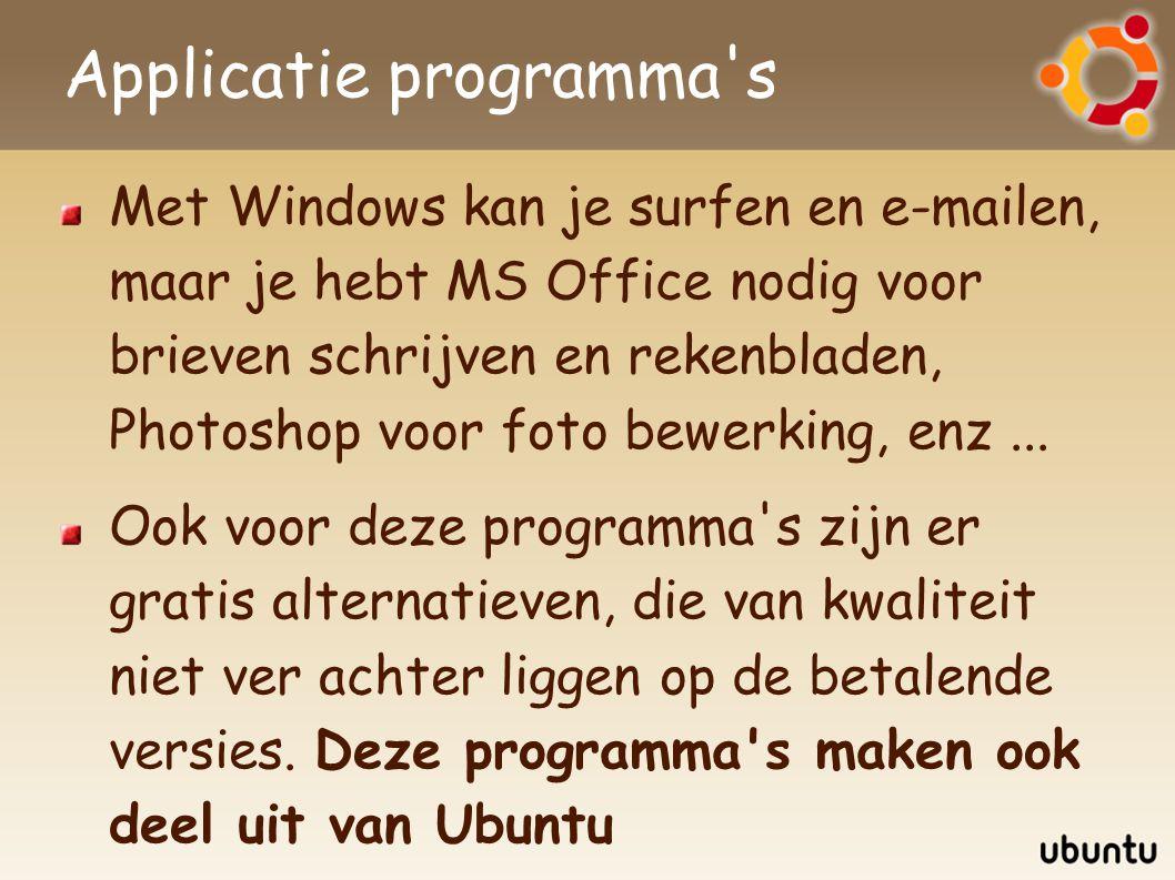 Applicatie programma's Met Windows kan je surfen en e-mailen, maar je hebt MS Office nodig voor brieven schrijven en rekenbladen, Photoshop voor foto