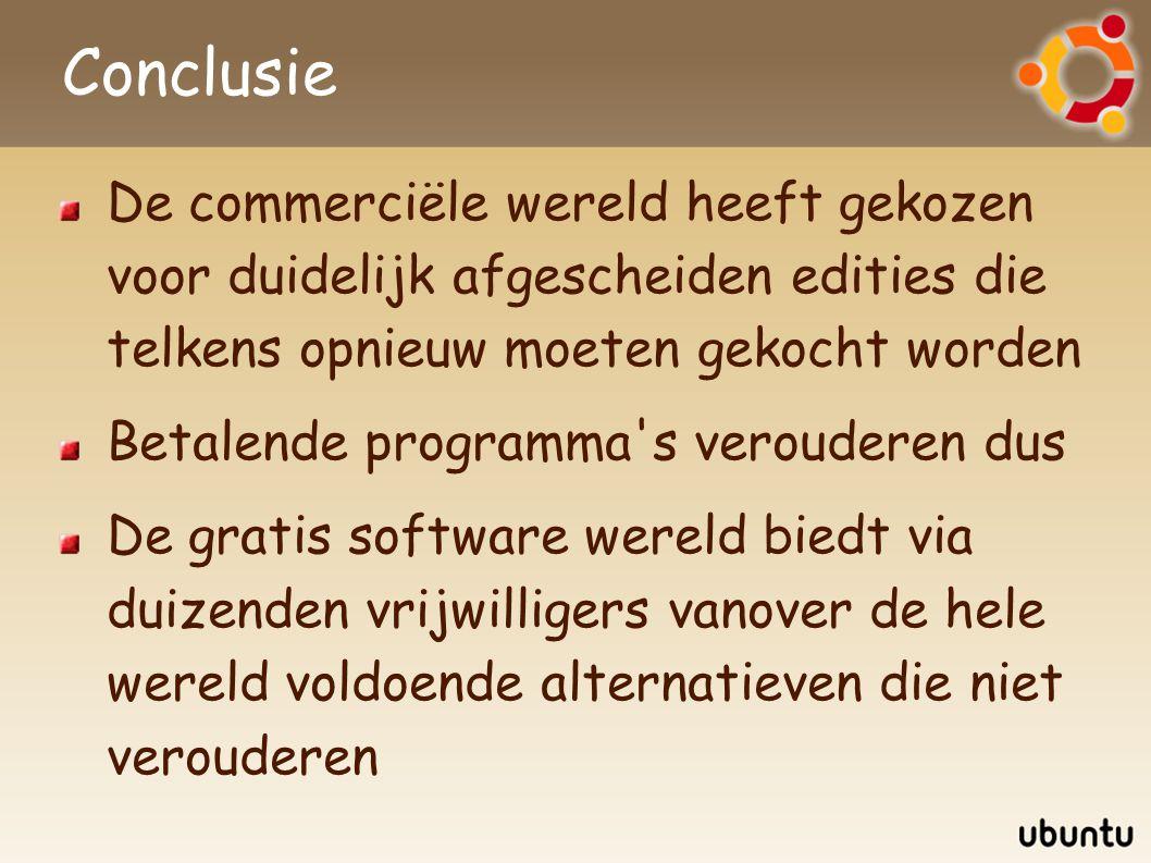 Conclusie De commerciële wereld heeft gekozen voor duidelijk afgescheiden edities die telkens opnieuw moeten gekocht worden Betalende programma's vero
