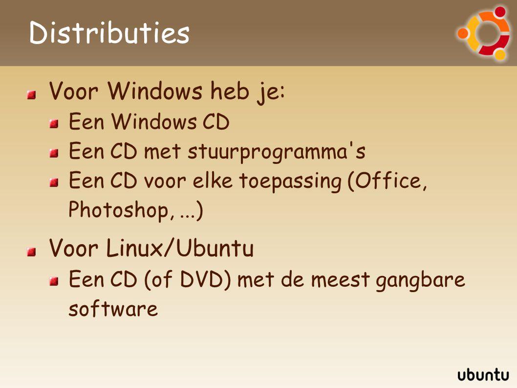 Distributies Voor Windows heb je: Een Windows CD Een CD met stuurprogramma's Een CD voor elke toepassing (Office, Photoshop,...) Voor Linux/Ubuntu Een