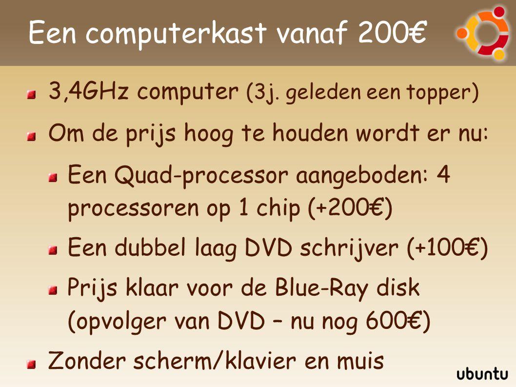 Distributies Voor Windows heb je: Een Windows CD Een CD met stuurprogramma s Een CD voor elke toepassing (Office, Photoshop,...) Voor Linux/Ubuntu Een CD (of DVD) met de meest gangbare software