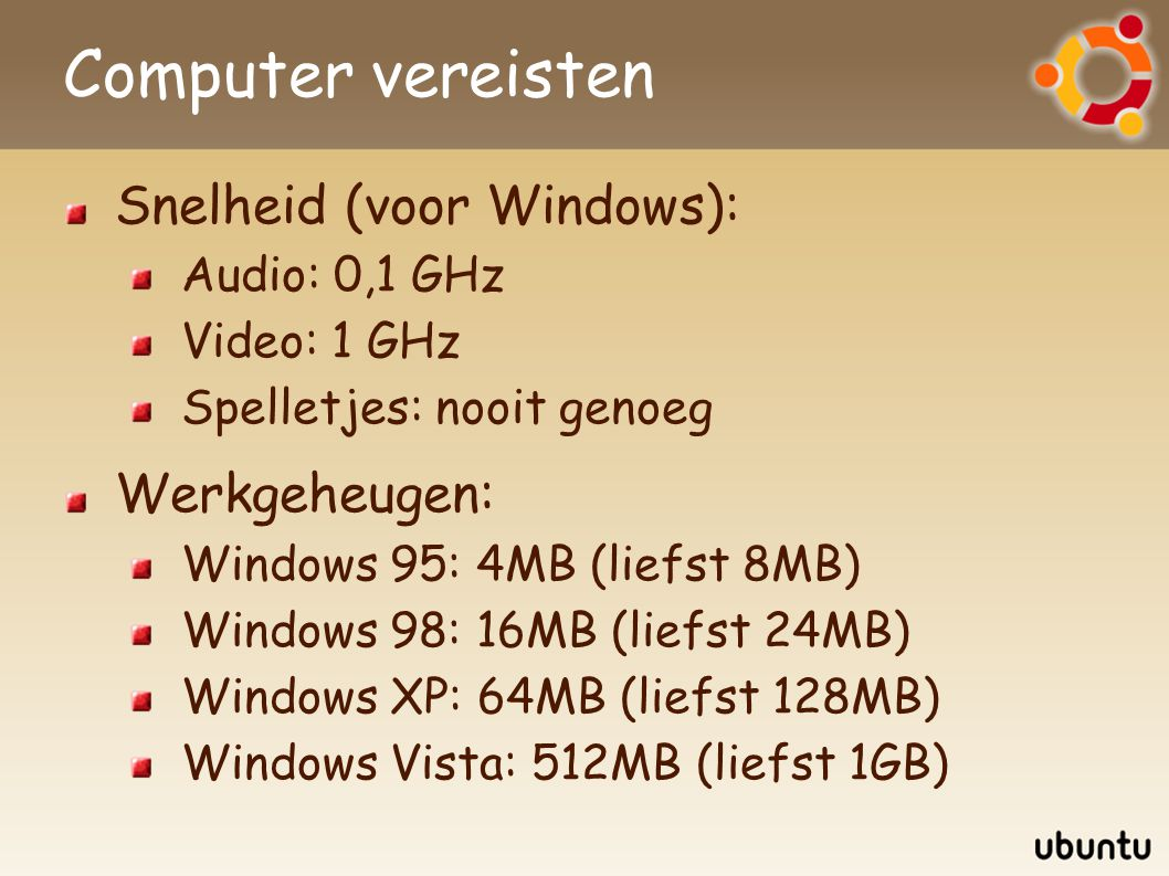 Computer vereisten Snelheid (voor Windows): Audio: 0,1 GHz Video: 1 GHz Spelletjes: nooit genoeg Werkgeheugen: Windows 95: 4MB (liefst 8MB) Windows 98