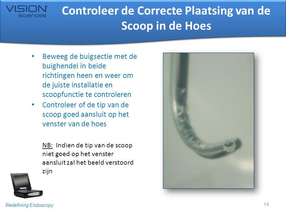 Redefining Endoscopy Controleer de Correcte Plaatsing van de Scoop in de Hoes • Beweeg de buigsectie met de buighendel in beide richtingen heen en wee