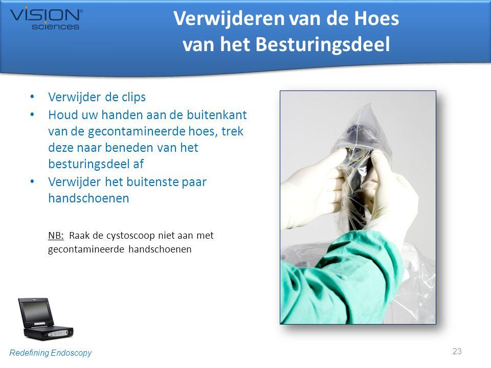 Redefining Endoscopy Verwijderen van de Hoes van het Besturingsdeel • Verwijder de clips • Houd uw handen aan de buitenkant van de gecontamineerde hoe