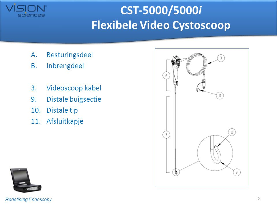 Redefining Endoscopy CST-5000/5000i Flexibele Video Cystoscoop 1.Buighendel 2.Flow controle klep 3.Videoscoop kabel 4.Controle knoppen 5.Sluitmoer 6.EndoSheath® Interface 7.Serienummer 8.EtO klep 4