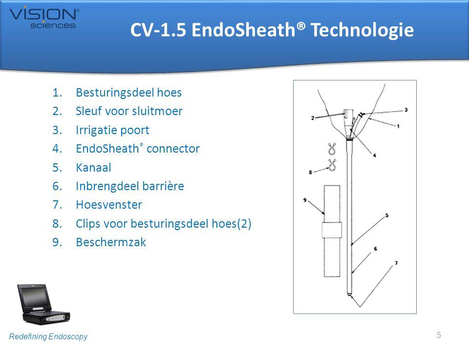 Redefining Endoscopy CV-2.1 EndoSheath® Technologie 1.Besturingsdeel hoes 2.Sleuf voor sluitmoer 3.Accessoire poort met afneembaar kapje 4.EndoSheath ® connector 5.Werkkanaal 6.Inbrengdeel barrière 7.Hoesvenster 8.Clips voor besturingsdeel(2) 9.Irrigatie/Afzuig slang 10.Irrigatie/Afzuig slang aansluiting 11.Luer kapje 12.Beschermzak 6 De disposable EndoSheath® Technologie zal van hier af aan als hoes worden beschreven.