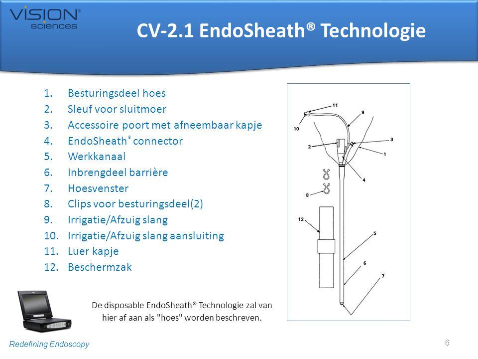 Redefining Endoscopy Besturingsdeel Hoes • D oe nu het buitenste paar steriele handschoenen uit • Trek de hoes verder over het besturingsdeel van de cystoscoop • In het geval van een fiberscoop, let op de opening in de hoes voor het oculair 17