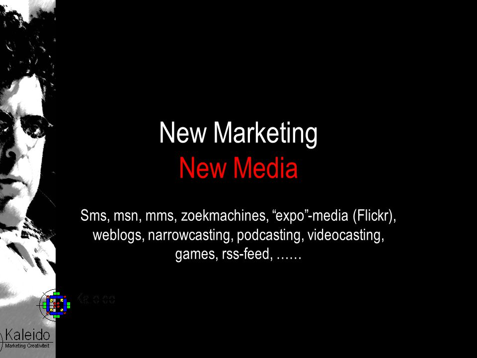 "New Marketing New Media Sms, msn, mms, zoekmachines, ""expo""-media (Flickr), weblogs, narrowcasting, podcasting, videocasting, games, rss-feed, ……"