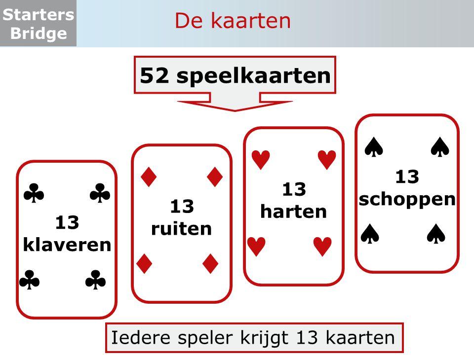 Starters Bridge De kaarten Iedere speler krijgt 13 kaarten  13 ruiten   13 klaveren   13 harten   13 schoppen  52 speelkaarten