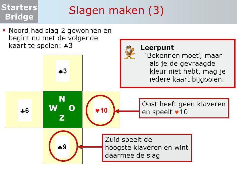 Starters Bridge  Doel: zoveel mogelijk slagen maken  Twee in plaats van vier spelers  Zuid speelt tegen Oost  Hoeveel slagen maakt Zuid altijd.