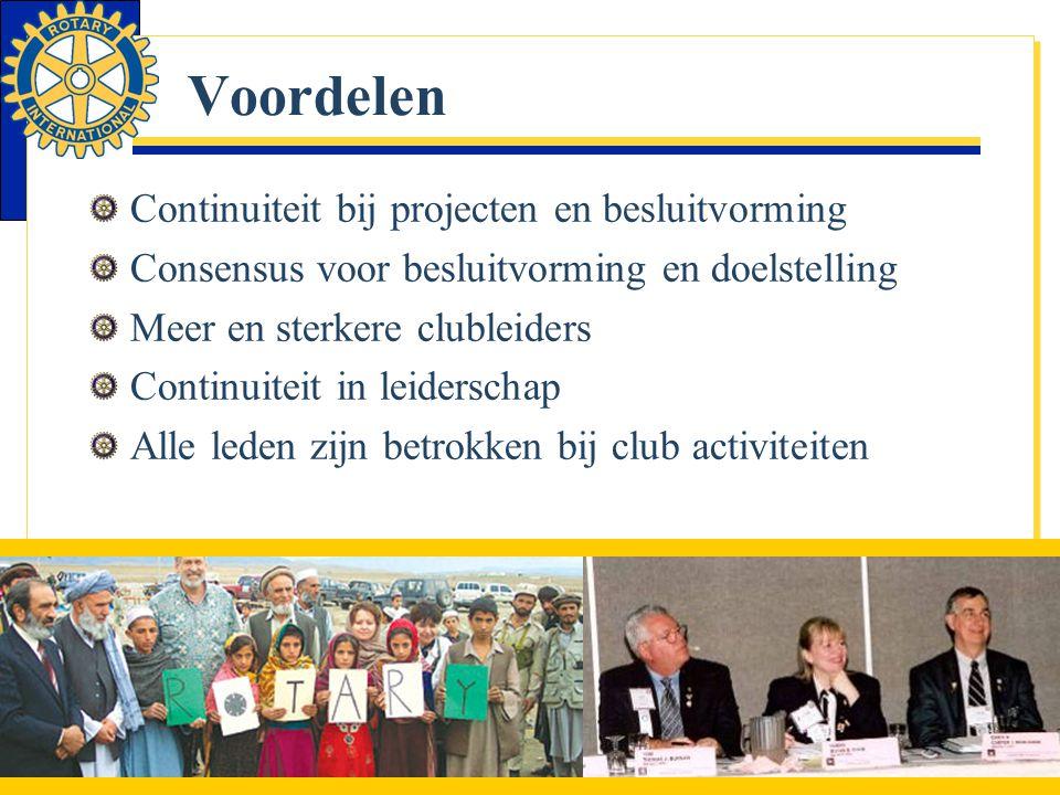 Voordelen Continuiteit bij projecten en besluitvorming Consensus voor besluitvorming en doelstelling Meer en sterkere clubleiders Continuiteit in leid