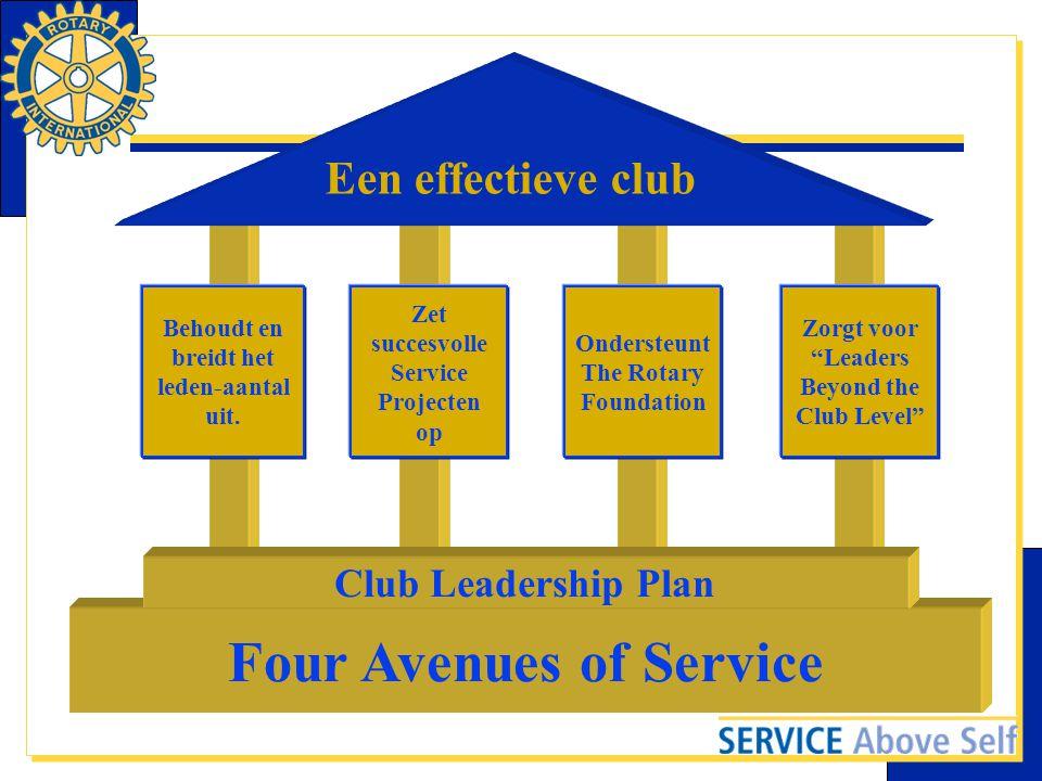 """Een effectieve club Behoudt en breidt het leden-aantal uit. Zet succesvolle Service Projecten op Ondersteunt The Rotary Foundation Zorgt voor """"Leaders"""