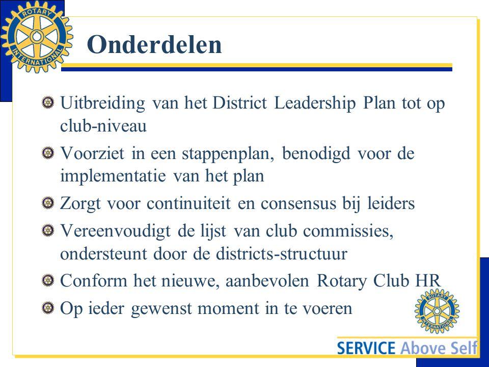 Onderdelen Uitbreiding van het District Leadership Plan tot op club-niveau Voorziet in een stappenplan, benodigd voor de implementatie van het plan Zo