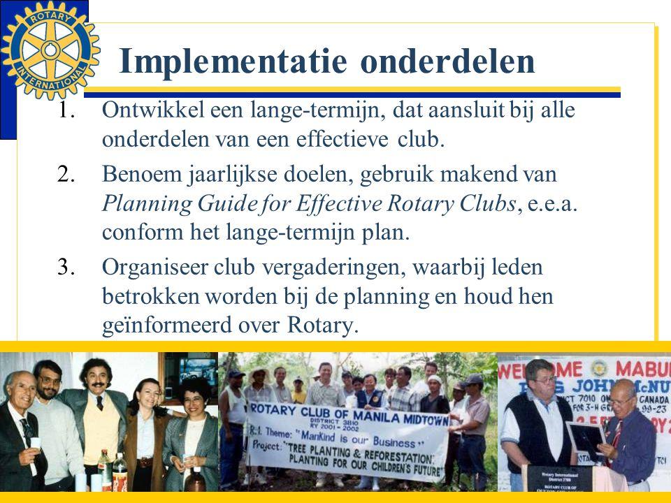 Implementatie onderdelen 1.Ontwikkel een lange-termijn, dat aansluit bij alle onderdelen van een effectieve club. 2.Benoem jaarlijkse doelen, gebruik