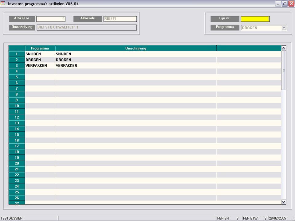Aan de hand van een aantal parameters worden uw productieprogramma's opgemaakt…