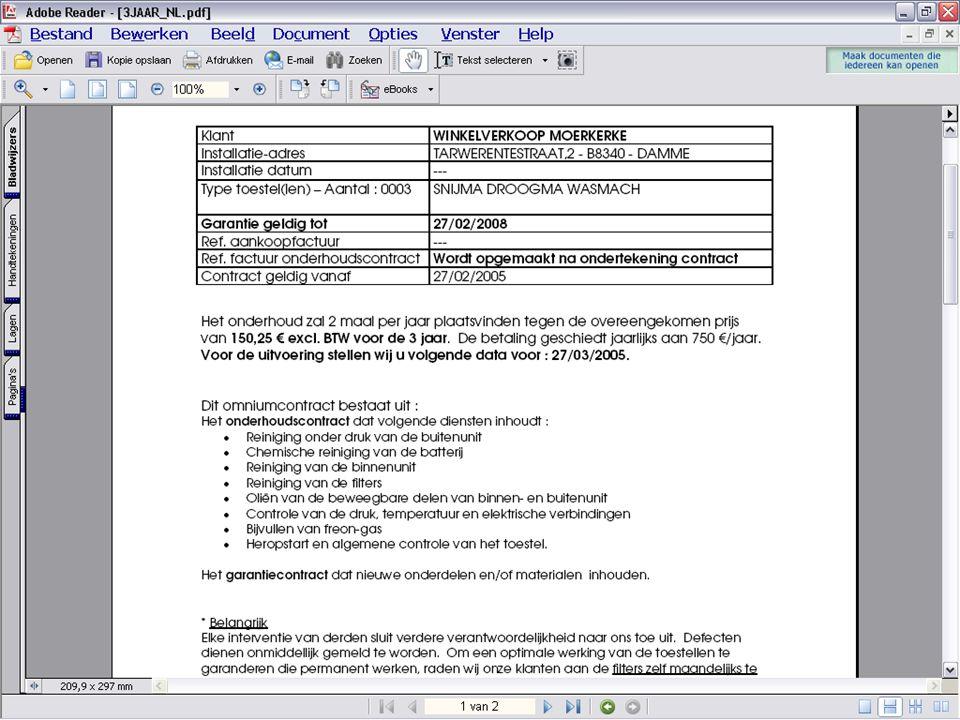 Lucas drukt uw contracten vanuit een vooraf vastgelegd document in Microsoft Word
