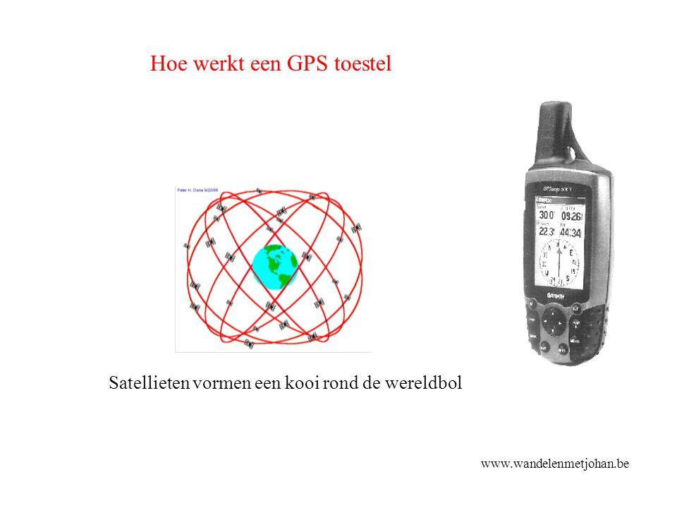 Satellieten vormen een kooi rond de wereldbol Hoe werkt een GPS toestel www.wandelenmetjohan.be