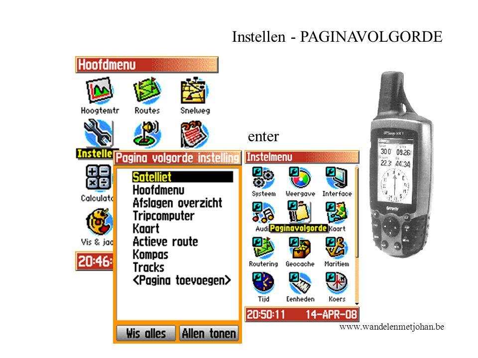 Instellen - PAGINAVOLGORDE enter www.wandelenmetjohan.be