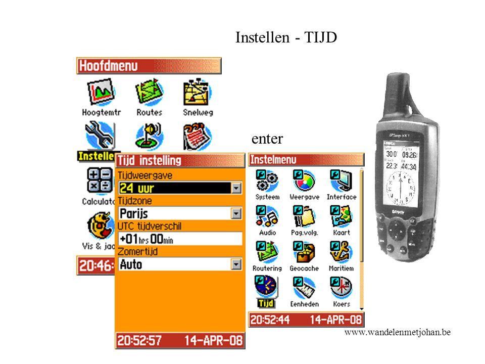 Instellen - TIJD enter tijd www.wandelenmetjohan.be