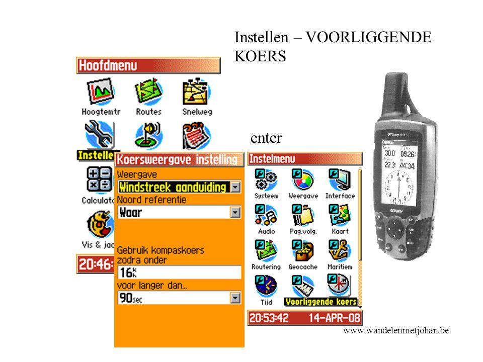 Instellen – VOORLIGGENDE KOERS enter koers www.wandelenmetjohan.be