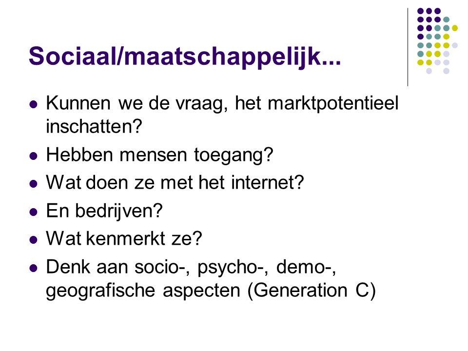 Sociaal/maatschappelijk...  Kunnen we de vraag, het marktpotentieel inschatten.