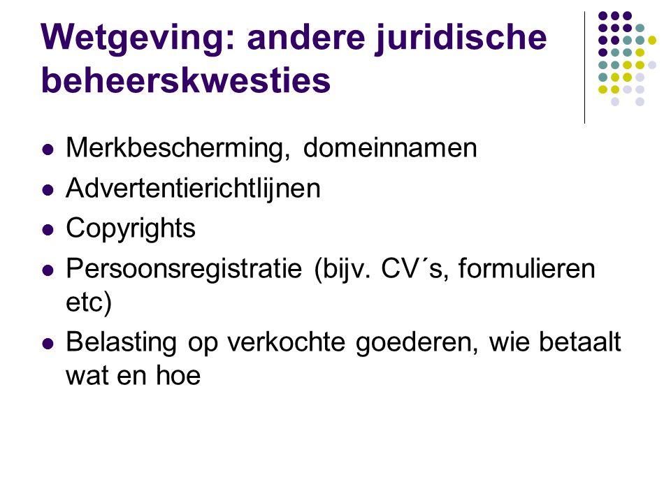 Wetgeving: andere juridische beheerskwesties  Merkbescherming, domeinnamen  Advertentierichtlijnen  Copyrights  Persoonsregistratie (bijv.