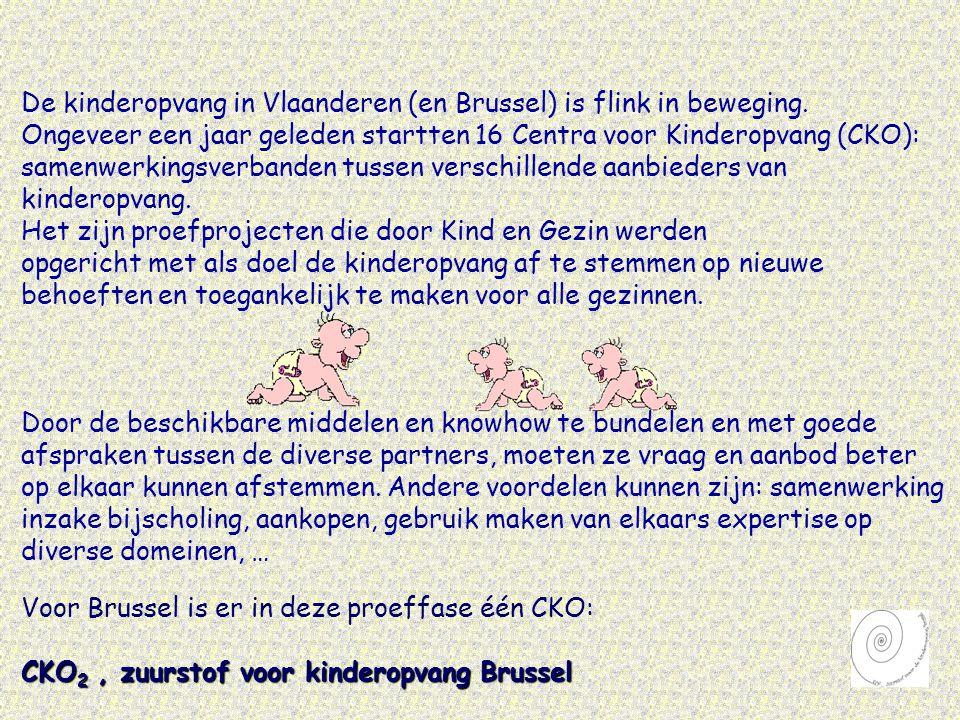 Het CKO 2, zuurstof voor kinderopvang in Brussel, is een samenwerkingsverband van verschillende kinderopvanginitiatieven die meewerken aan : • een gemeenschappelijk sociaal-pedagogisch project • een complementair opnamebeleid • een betere coördinatie van het aanbod en de afstemming vraag/aanbod • eventuele ontwikkeling van nieuwe initiatieven Het CKO 2, zuurstof voor kinderopvang in Brussel, is actief in volgende buurten : • Brussel stad, regio vijfhoek • Laag Molenbeek • Koekelberg