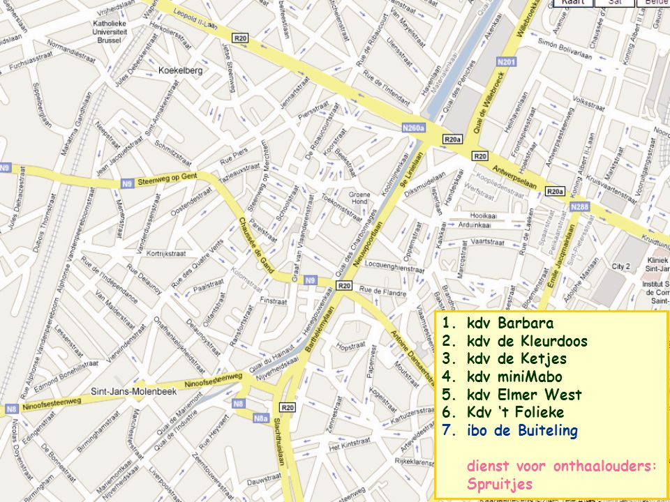 6 1.kdv Barbara 2.kdv de Kleurdoos 3.kdv de Ketjes 4.kdv miniMabo 5.kdv Elmer West 6.kdv 't Folieke 7.ibo de Buiteling dienst voor onthaalouders: Spruitjes kdv 't Folieke •Kogelstraat 29 te 1000 Brussel •contact: •Greetje Van der Meeren 02 5147032 5147032 - kdv.folieke@g-o.be •Anne Moisson – 0476 205506 of 02 7270685 •capaciteit: 23 plaatsen, erkend en gesubsidieerd door Kind en Gezin •momenteel geen reservatielijst •wij vragen een waarborg bij inschrijving •volgende voorrangsmaatregelen worden gehanteerd: kinderen van alleenstaande of werkzoekende ouders, ouders in opleiding, … •openingsuren 7u 18u30 •verlof: één week tussen kerst- en nieuwjaar, feestdagen en brugdagen (zomerverlof nog niet bepaald) •voeding: catering via Agape (www.agape.be) •dieetvoeding is mogelijk mits gestaafd door doktersattest •leefgroepen: baby's-kruipers en peuters