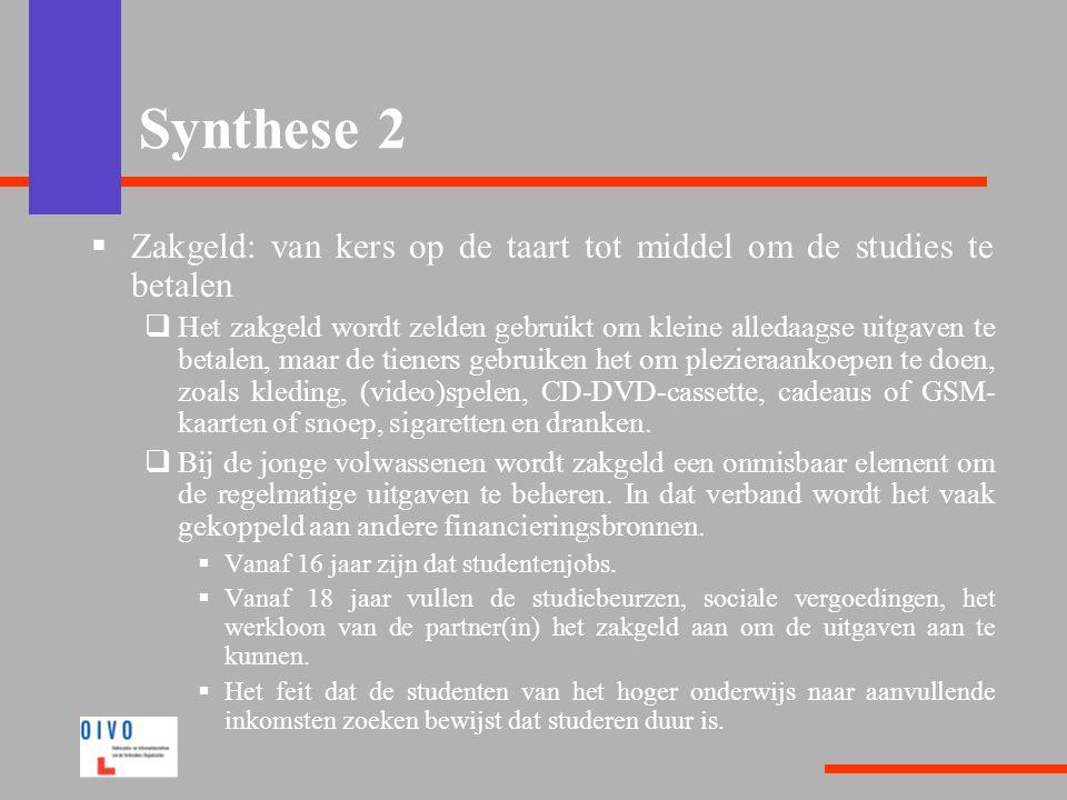  Zakgeld: van kers op de taart tot middel om de studies te betalen  Het zakgeld wordt zelden gebruikt om kleine alledaagse uitgaven te betalen, maar