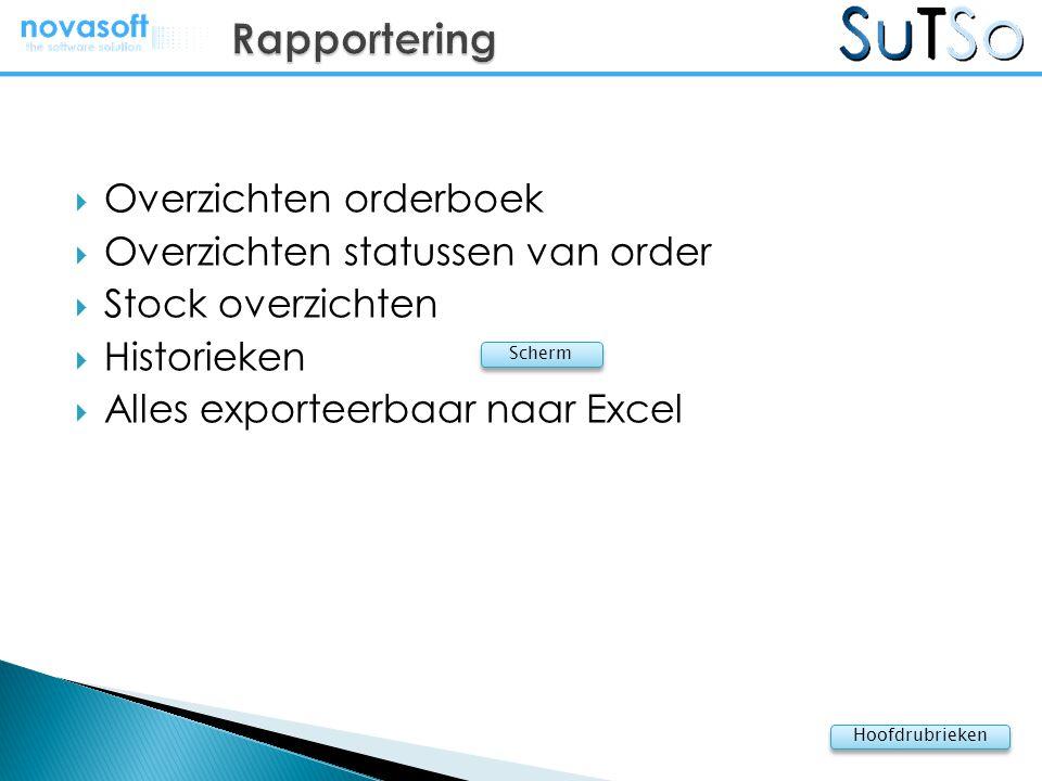  Overzichten orderboek  Overzichten statussen van order  Stock overzichten  Historieken  Alles exporteerbaar naar Excel Hoofdrubrieken Scherm