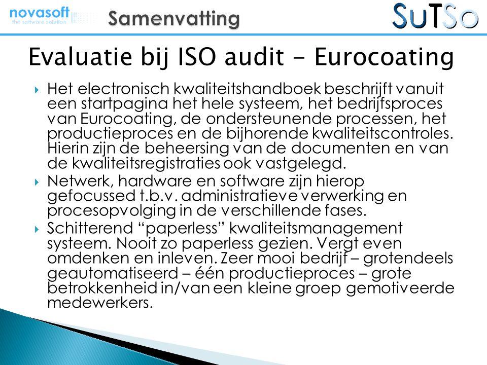  Het electronisch kwaliteitshandboek beschrijft vanuit een startpagina het hele systeem, het bedrijfsproces van Eurocoating, de ondersteunende proces
