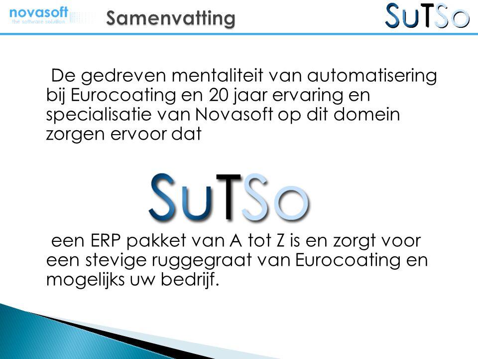 De gedreven mentaliteit van automatisering bij Eurocoating en 20 jaar ervaring en specialisatie van Novasoft op dit domein zorgen ervoor dat een ERP p
