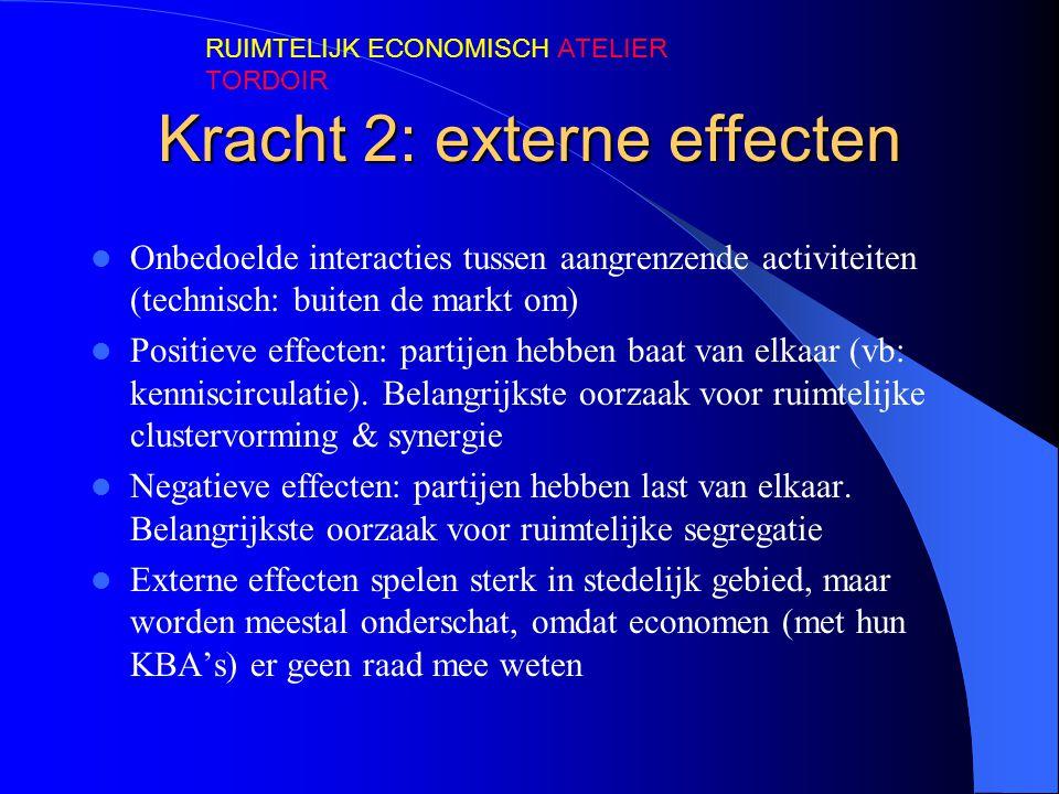 Kracht 2: externe effecten  Onbedoelde interacties tussen aangrenzende activiteiten (technisch: buiten de markt om)  Positieve effecten: partijen hebben baat van elkaar (vb: kenniscirculatie).