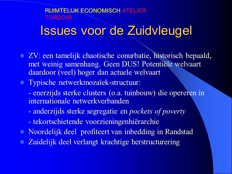 Issues voor de Zuidvleugel  ZV: een tamelijk chaotische conurbatie, historisch bepaald, met weinig samenhang. Geen DUS! Potentiële welvaart daardoor
