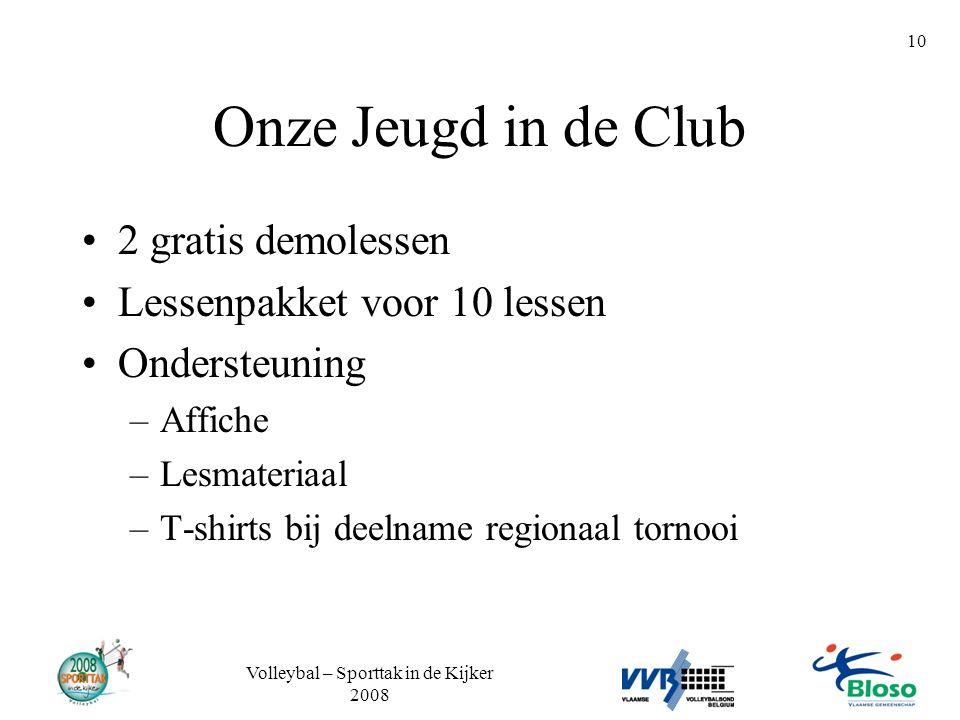 Volleybal – Sporttak in de Kijker 2008 10 Onze Jeugd in de Club •2 gratis demolessen •Lessenpakket voor 10 lessen •Ondersteuning –Affiche –Lesmateriaa