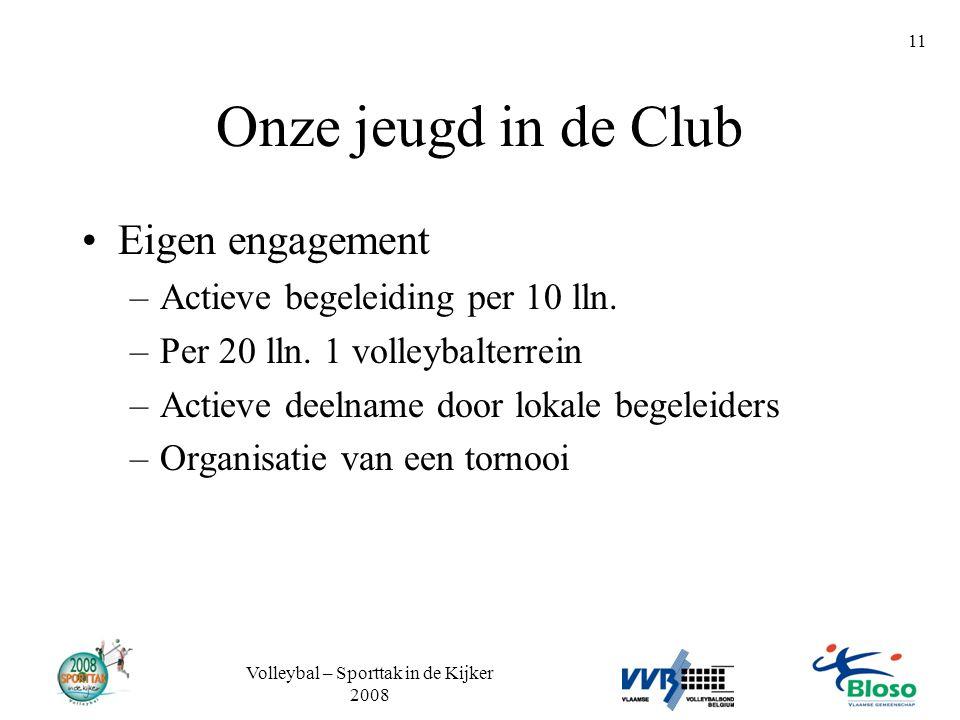 Volleybal – Sporttak in de Kijker 2008 11 Onze jeugd in de Club •Eigen engagement –Actieve begeleiding per 10 lln. –Per 20 lln. 1 volleybalterrein –Ac
