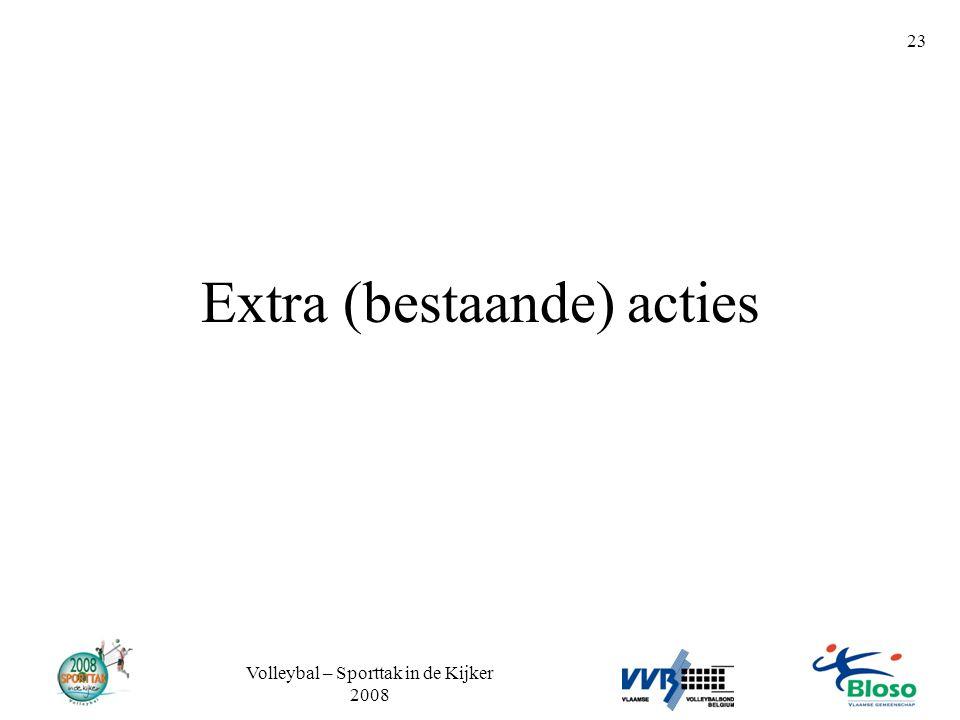 Volleybal – Sporttak in de Kijker 2008 23 Extra (bestaande) acties