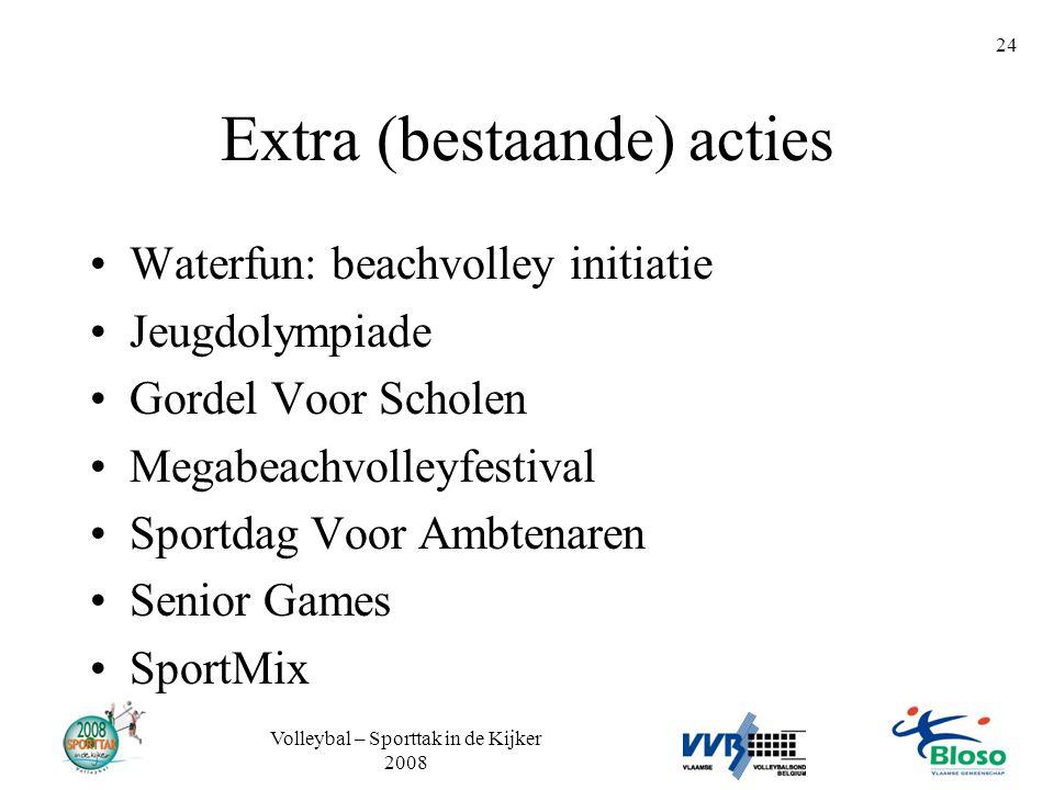 Volleybal – Sporttak in de Kijker 2008 24 Extra (bestaande) acties •Waterfun: beachvolley initiatie •Jeugdolympiade •Gordel Voor Scholen •Megabeachvol
