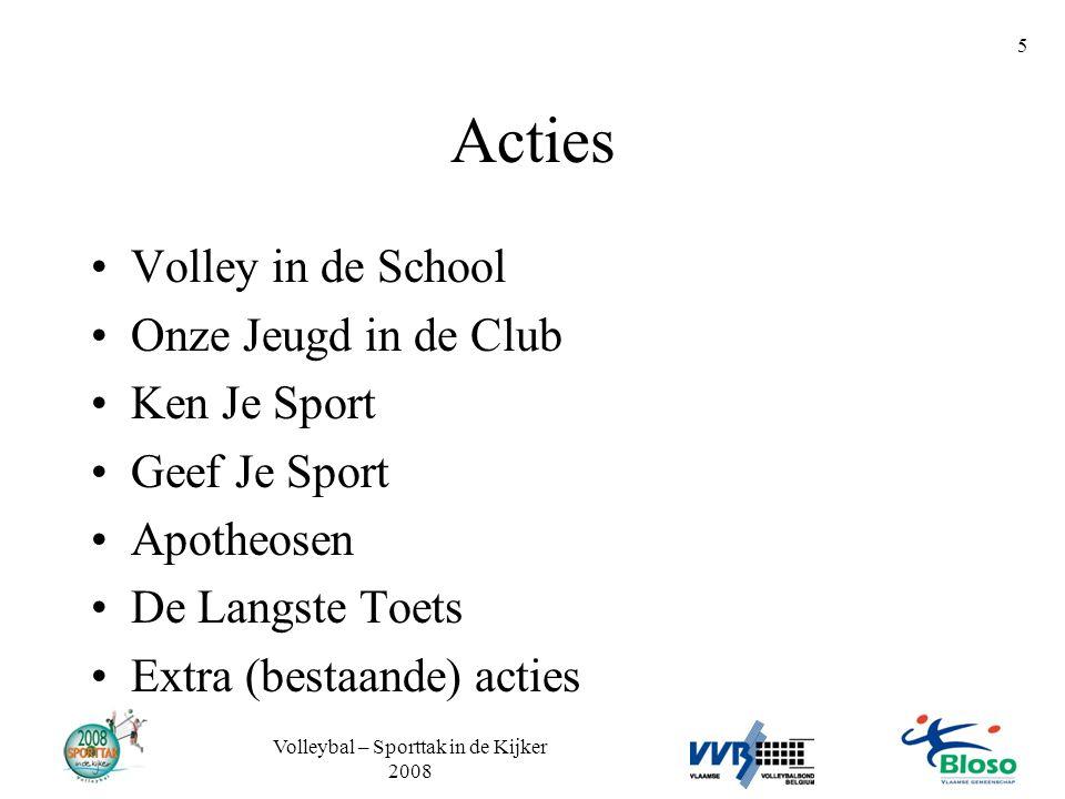 Volleybal – Sporttak in de Kijker 2008 5 Acties •Volley in de School •Onze Jeugd in de Club •Ken Je Sport •Geef Je Sport •Apotheosen •De Langste Toets