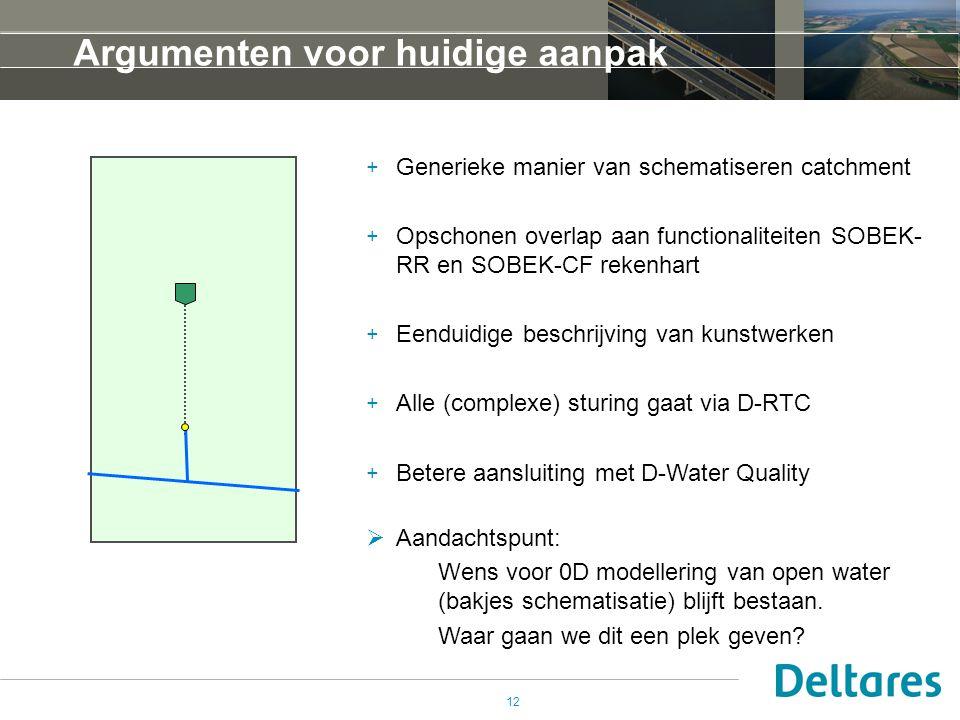 12 Argumenten voor huidige aanpak + Generieke manier van schematiseren catchment + Opschonen overlap aan functionaliteiten SOBEK- RR en SOBEK-CF rekenhart + Eenduidige beschrijving van kunstwerken + Alle (complexe) sturing gaat via D-RTC + Betere aansluiting met D-Water Quality  Aandachtspunt: Wens voor 0D modellering van open water (bakjes schematisatie) blijft bestaan.