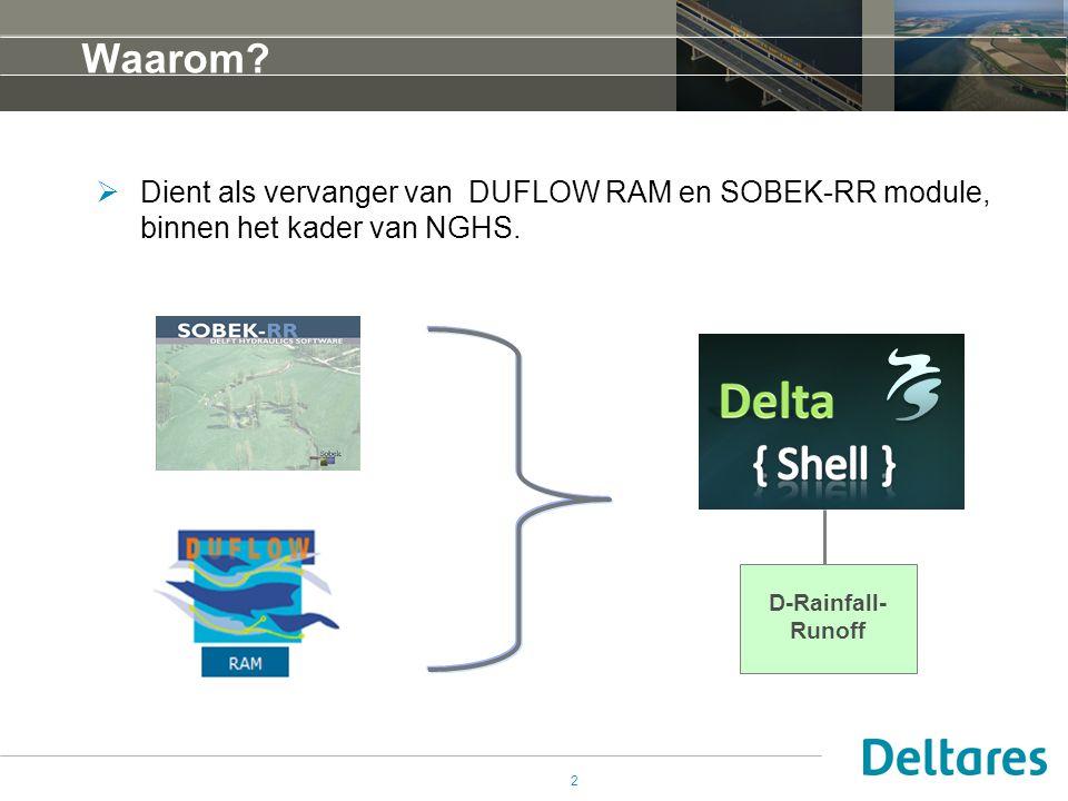 2 Waarom?  Dient als vervanger van DUFLOW RAM en SOBEK-RR module, binnen het kader van NGHS. D-Rainfall- Runoff