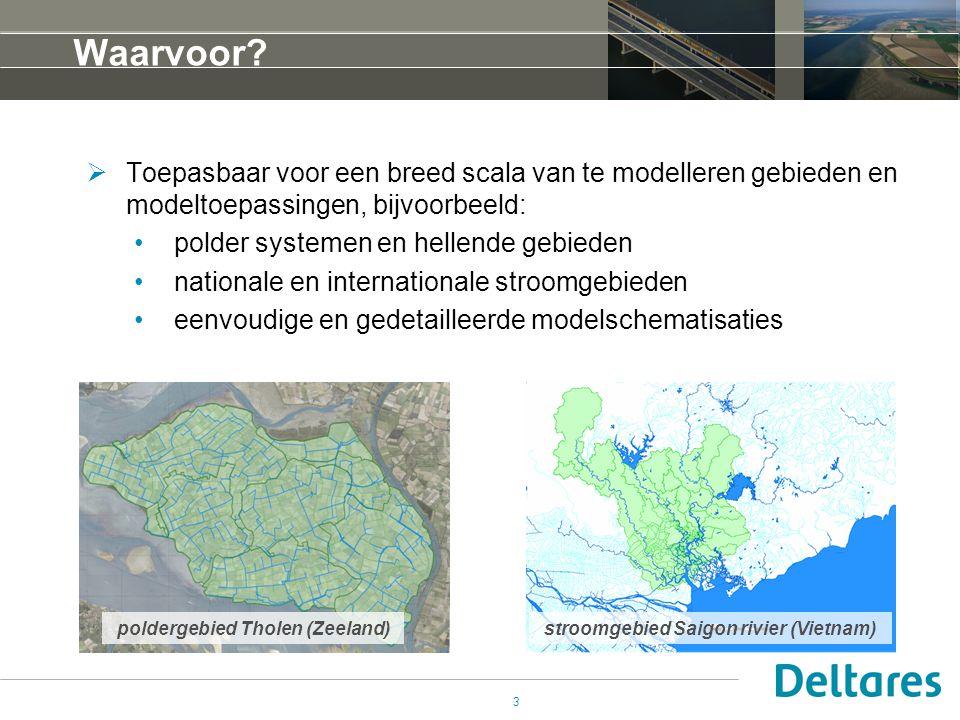 3 Waarvoor?  Toepasbaar voor een breed scala van te modelleren gebieden en modeltoepassingen, bijvoorbeeld: •polder systemen en hellende gebieden •na