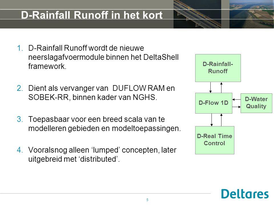 5 D-Rainfall Runoff in het kort 1.D-Rainfall Runoff wordt de nieuwe neerslagafvoermodule binnen het DeltaShell framework. 2.Dient als vervanger van DU
