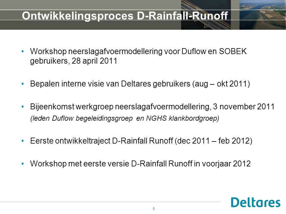 6 Ontwikkelingsproces D-Rainfall-Runoff •Workshop neerslagafvoermodellering voor Duflow en SOBEK gebruikers, 28 april 2011 •Bepalen interne visie van Deltares gebruikers (aug – okt 2011) •Bijeenkomst werkgroep neerslagafvoermodellering, 3 november 2011 (leden Duflow begeleidingsgroep en NGHS klankbordgroep) •Eerste ontwikkeltraject D-Rainfall Runoff (dec 2011 – feb 2012) •Workshop met eerste versie D-Rainfall Runoff in voorjaar 2012