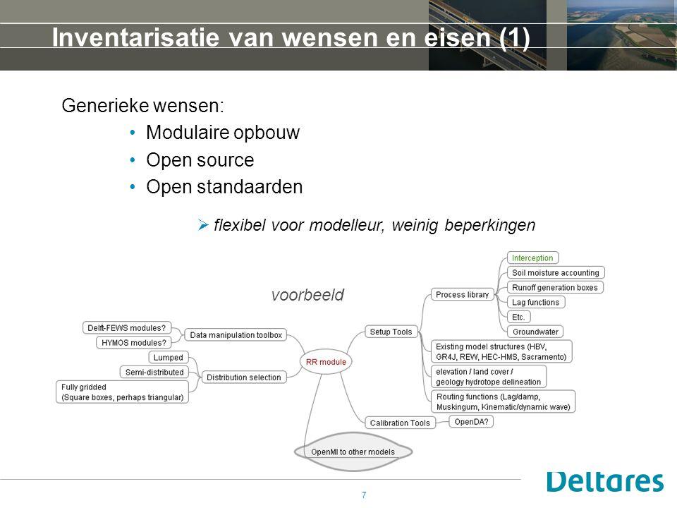 7 Inventarisatie van wensen en eisen (1) Generieke wensen: •Modulaire opbouw •Open source •Open standaarden  flexibel voor modelleur, weinig beperkin