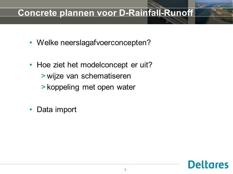 9 Concrete plannen voor D-Rainfall-Runoff •Welke neerslagafvoerconcepten? •Hoe ziet het modelconcept er uit? >wijze van schematiseren >koppeling met o