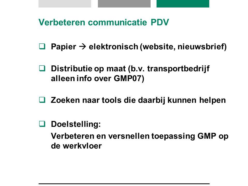 Verbeteren communicatie PDV  Papier  elektronisch (website, nieuwsbrief)  Distributie op maat (b.v.