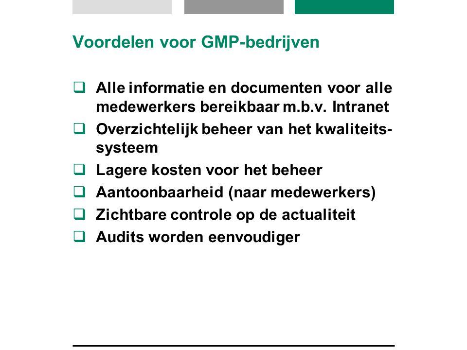 Voordelen voor GMP-bedrijven  Alle informatie en documenten voor alle medewerkers bereikbaar m.b.v.