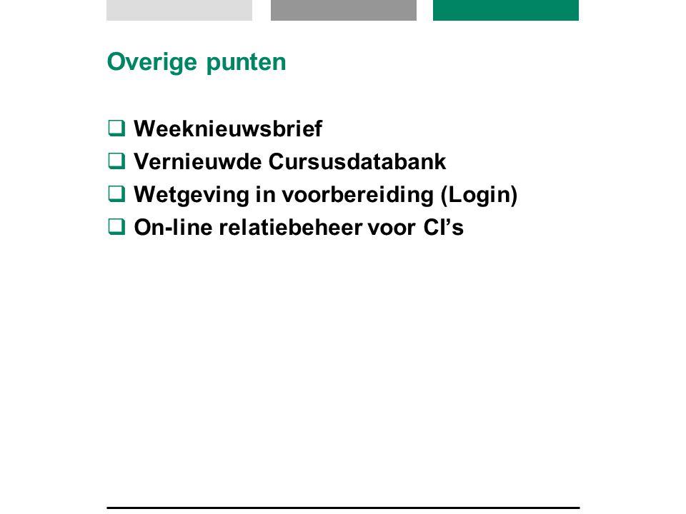 Overige punten  Weeknieuwsbrief  Vernieuwde Cursusdatabank  Wetgeving in voorbereiding (Login)  On-line relatiebeheer voor CI's